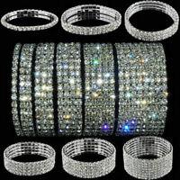 Fashion Crystal Rhinestone Stretch Bracelet Bangle Wristband Bridal Wedding Gift