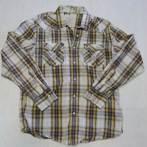 American Eagle Button Up Dress Shirt Adult Large Yellow Western Pearl Snap Mens