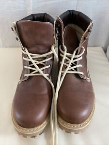 WILLS Brown Vegan Lace Up Boots Size 43