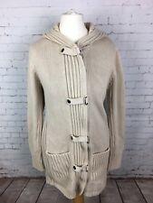 Next Women's Beige Hooded Cardigan Coat Jacket Size SMALL