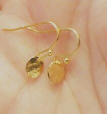 Tiny Teiny Hammered Gold Oval Earring Drops