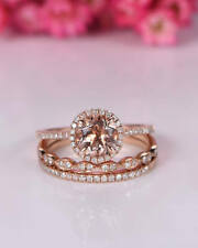 2Ct Round Cut Morganite Simulnt Diamond Engagement Ring Set Silver Rose Gold Fns
