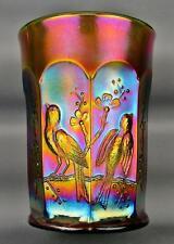 CARNIVAL GLASS - NORTHWOOD SINGING BIRDS Green Tumbler 3710