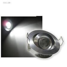 5er Set 3W LED Einbaustrahler kaltweiß rund schwenkbar Alu, 12V Einbauleuchte