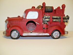 "Firetruck Bird House Retro Vintage Look Red/Black 10""long × 6"" tall"