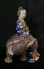 Antique Japanese Imari Porcelain Bijin Geisha Okimono Woman on Elephant Statue
