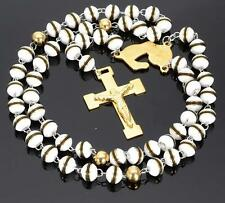 XMAS Gifts Rosary Necklace Stainless Steel Gold Religous Cross White Ball 8mm