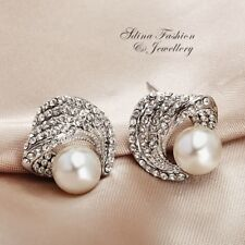 18K White Gold Filled Simulated Pearl & Diamond Crossover Stud Earrings