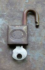 Small Antique Solid Brass  Corbin Padlock & Original Key     1-5/8""