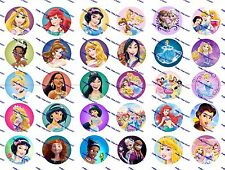 "30 Precut 1"" Princesses Bottle cap Image Set 2"