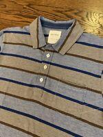Mens Billy Reid Polo Shirt Size Large Short Sleeve Stripes