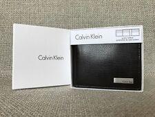 CALVIN KLEIN Mens Grid Texture Aviator Billfold Leather Wallet Dark Brown [NEW]