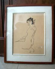"""NU femme DESSIN à l' ENCRE signé CREIXAMS Pedro """"PICO"""" peintre Catalan 1893-1965"""