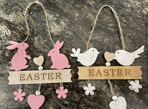 Easter Shabby Chic Hanging Wooden Decorations - Pink Rabbits or White Birds