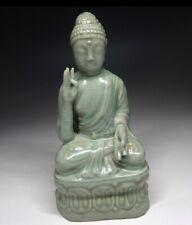 Korean Joseon Dynasty Celadon Buddha Statue / W 8.5× H 16 [cm]