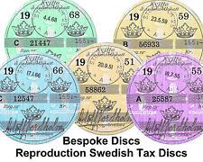 Swedish Sweden Replica / Reproduction Road Tax Disc Saab Volvo Vintage Bespoke