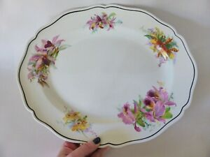 Royal Doulton Orchids Platter, Art Deco, 1930s Serving Plate, Patt D 5400