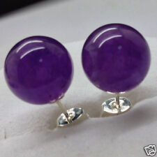 Fashion 10mm Purple Amethyst Round Beads 925 Sterling Silver Stud Earrings