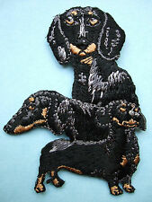 IRON-ON EMBROIDERED PATCH - DACHSHUND - BLACK - DOG