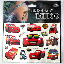 NEW Pixar Cars Mcqueen Temporary Tattoo Sheet Kids Birthday Party Bag Filler