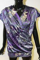 Morgan De Toi womens dreko purple oriental print v-neck wrap top sizes xs - m