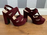 New Look Burgundy High Heels Uk Size 5 Wide Fit