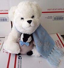 "Bearington Polar Bear Plush with Penguin White Blue Scarf Soft 13"""