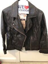 Hollister Womens Medium M Faux Vegan Brown Leather Moto Jacket Coat