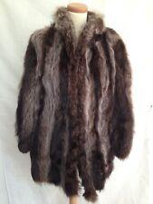 Vintage FOX/raton laveur manteau de fourrure courte mi-longue UK 14