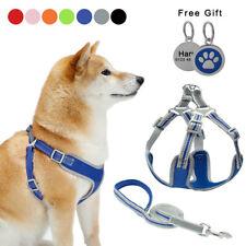 Reflective Dog Harnesses Leash Set &Dog ID Tag Adjustable Small Medium Large Dog