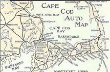 Retro Cape Cod Auto Map Postcard Color