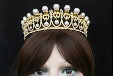 Gold Pearl Sweet 16 Birthday Party Princess Rhinestones Crystal Crown Tiara