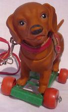 -alter DACKEL auf Rädern mit Hundegeschirr NACHZIEHTIER Spielsachen dog Geschenk