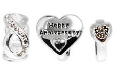 STERLING SILVER  ANNIVERSARY CRYSTAL INFINITY HEARTS BEADS - SET OF 3