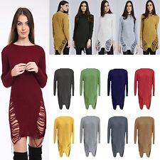 New ladies Ripped Ladder Distressed Oversize Jumper Dress Top woolly sweater