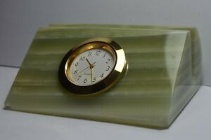Vintage Green Natural Onyx Letter Rack with inset Quartz Clock