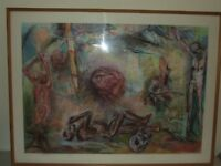 Huge Tortured Souls Framed Signed Pastel Painting by Listed Artist Suzanne Hodes