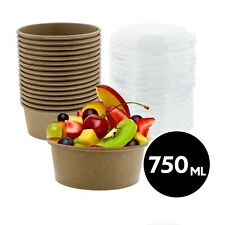 750ml Food Storage Meal Prep Container Kraft Paper Bowl With Lid 50 200 Pack