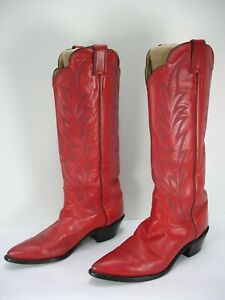 VINTAGE JUSTIN L4985 RED LEATHER TALL COWBOY WESTERN BOOTS WOMEN'S 9.5 B