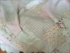 Pottery Pink King Single Rag Bed Quilt Rag Farm Barn House Country Bedspread Set