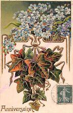 CPA GAUFREE EMBOSSED Anniversaire bouquet fleurs bleues feuilles lierre ca1906