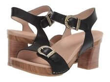 Dansko Anna Sandal Black Burnished Calf Leather Ankle Strap Block Heel Size 36