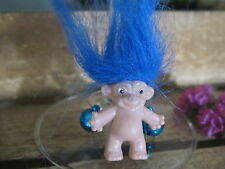 Wild Bright Blue Hair Lucky Troll Wine Charm Quirky Novelty 80's Party Bizarre