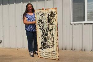 "Large Vintage Carhartt Overalls Pants Blue Jeans Farm Gas Oil 48"" Metal Sign"