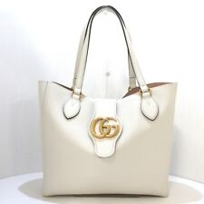Auth GUCCI GG Marmont Small Tote Bag 652680 Cream Leather Womens