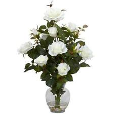 Nearly Natural 1281-WH Rose Bush with Vase Silk Flower Arrangement, White New
