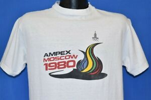 vintage 80s MOSCOW SUMMER OLYMPICS 1980 TORCH FLAME AMPEX GAMES t-shirt MEDIUM M