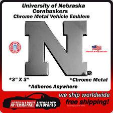 University of Nebraska Cornhuskers Chrome Metal Car Auto Emblem Decal Ships Fast