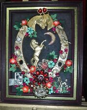 """Vintage Jewelry Art Horse Shoe """" Lucky Roses"""", Framed, & Signed"""