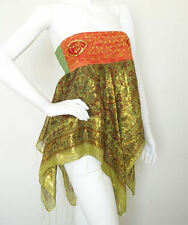 L22 Green Hippie Gypsy Embroidered Lurex Shimmering Blouse Top / Skirt - S & M